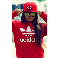 "Fashion ""Adidas"" Print Hooded Pullover Tops Sweater Sweatshirts Red high quality"