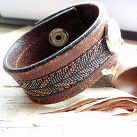 Bohemian Leather Braided Cuff Snap Bracelet by PurpleFinchStore