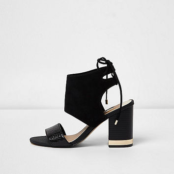 Black wide fit tie back block heel sandals - Sandals - Shoes & Boots - women