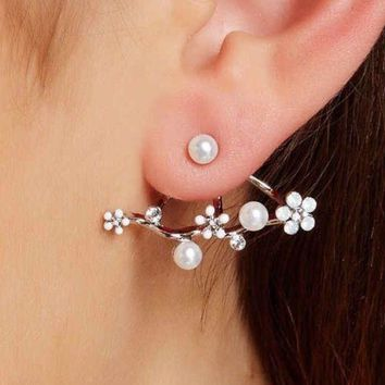 prudence C Faux Pearl Floral Jacket Earrings silver tone
