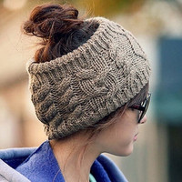 Twisted Knitted Yarn Empty Hat Women Winter Fashion Hair Accessories Headbands