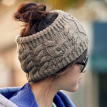 Twisted Knitted Yarn Empty Hat Women Winter Fashion Hair Accessories Headbands = 1946475588