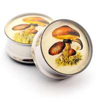 Mushroom Picture Plugs gauges - 00g, 1/2, 9/16, 5/8, 3/4, 7/8, 1 inch STYLE 3