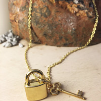 lock and key necklace, gold lock, gold key, gold dainty necklace, dainty necklace, lock charm necklace, small key charm, necklace, jewelry