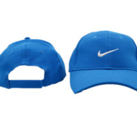 Trendy Denim Blue Nike Embroidered Unisex Adjustable Cotton Sports Cap Hat