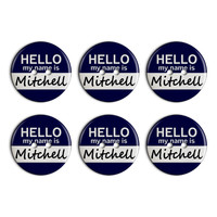 Mitchell Hello My Name Is Plastic Resin Button Set of 6