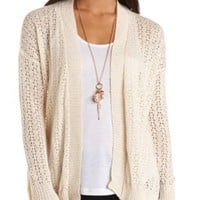 Long Sleeve Open Knit Cardigan Sweater by Charlotte Russe - Ivory