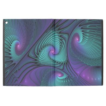 Purple meets Turquoise, abstract Fractal Art iPad Pro Case