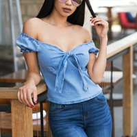 Jade Off Shoulder Top - Faux Denim