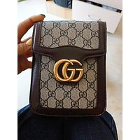 GUCCI Fashion New More Letter Leather Leisure Shoulder Bag Women Coffee