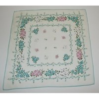 Vintage Ladies Handkerchief With Blue And Pink Rose Design