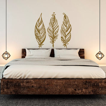 Feathers Wall Decals Tribal Decor Boho Bohemian Bedroom Dorm Wall Art- Boho Feathers Wall Decal- Wall Decal Bedroom Feather Decor C104