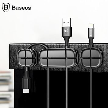 Baseus Magnetic Cable Clip USB Cable Organizer Clamp Desktop Workstation Wire Cord Management Cable Holder phone Stand Holder