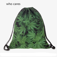 Who CaresTrend 3D Printing Backpack Women Space Weed Drawstring Bag Daily Casual Mochila Feminina Girl