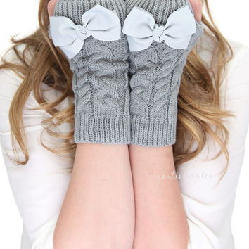 GRAY BOW MITTENS fingerless mittens, fingerless knit gloves with bow, gray knit gloves,bow gloves, knit bow gloves