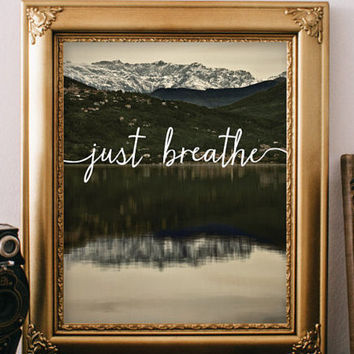 Just breath Digital typography Yoga decor wall art print printable quote art Yoga art print Inspirational Motivational quote poster BD-139