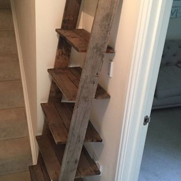Ladder Shelf Shoe Rack 6 Shelves Bookcase, made from Reclaimed Pallet Wood with Barnwood finish