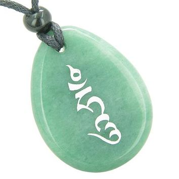 Tibetan HUNG Seal Wheel of Blessing Power Good Luck Amulet Green Aventurine Totem Stone Necklace