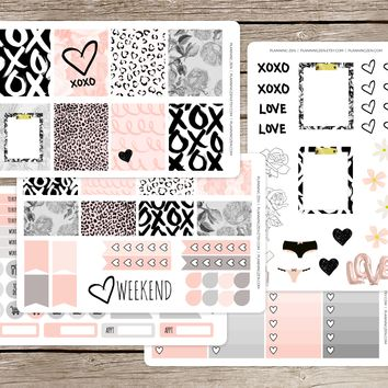 Flirty Valentine Vinyl Planner Stickers for use with EC Vertical Planners