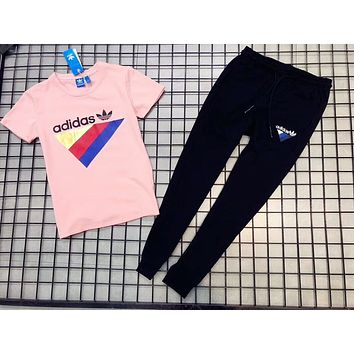 ADIDAS 2018 summer men and women couple models fashion sports trousers short sleeve two-piece F-AA-XDD pink