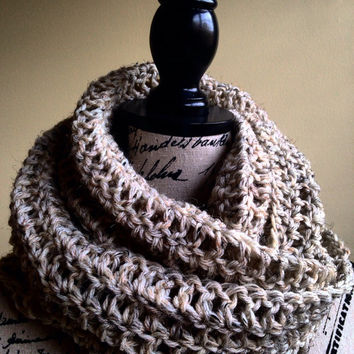 Unisex / Mens Crochet infinity Scarf in Handmade-Unisex Lightweight double loop circle infinity scarf-The COLORADO- Infinity Scarf-oatmeal c