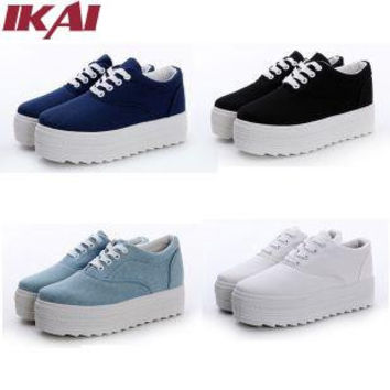 Platform Shoes Fashion Sneakers Breathable Thick Heel