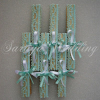 24 pcs Wedding Wooden Clothes Pins in Turquoise Lace
