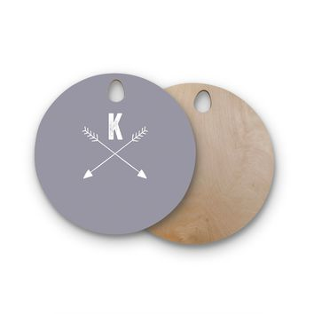 "KESS Original ""Gray Arrow Monogram"" Round Wooden Cutting Board"
