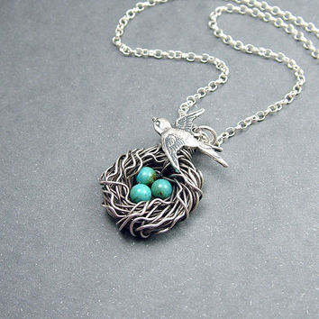 Bird Nest Necklace Sterling Silver and Turquoise by RoseAndRaven