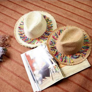 Panama Sombrero  Raffia Sun Hats For Women Cap fringe Handmade Striped Tassel Hair Ball Rafael Straw Hat Beach Hat Female