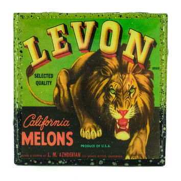 Handmade Coaster Levon Lion Brand - Vintage Citrus Crate Label - Handmade Recycled Tile Coaster