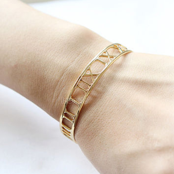 Roman numeral Bangle / numbers bangle, gold and silver