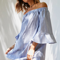 Cooperative Poplin Striped Off-The-Shoulder Dress | Urban Outfitters