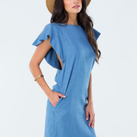 Heart Aflutter Denim Shift Dress
