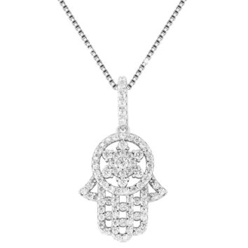 Iced Out Hamsa Hand Sterling Silver Pendant