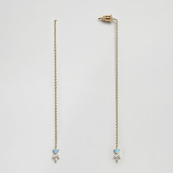 Orelia Gold Plated Opal Stone Thread Through Earrings at asos.com