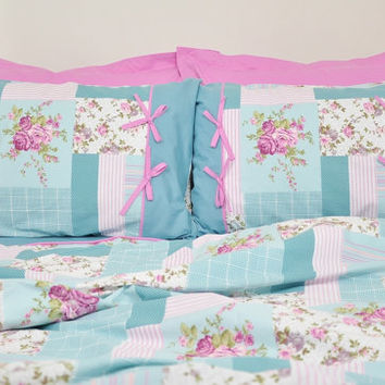 Floral Cottage Bedding Set in Mint Green, Teal Blue, Lilac, Pink Rose Print for King - 6-pcs Set of Duvet Cover, Sheet, Shams & Pillow Cases