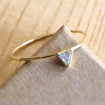 Diamond Engagement Ring - Triangle Diamond Ring - 14k Gold