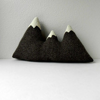 the Sisters  brown wool mountain range pillow by threebadseeds