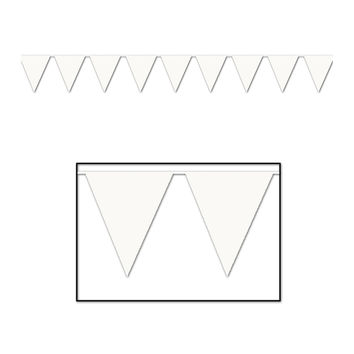 Indoor/Outdoor Pennant Banner 10 x 12' - White- Pack of 12
