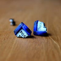 TARDIS Piece Stud Earrings, Titanium Doctor Who Earrings, Miniature Geek Jewelry