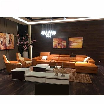 Contemporary Top-Grain Leather Sectional Sofa