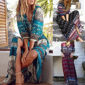 Bohemia Floral Print Women V-neck Maxi Dress Ethnic Style Beach Boho Long Dress Retro Hippie Vestidos