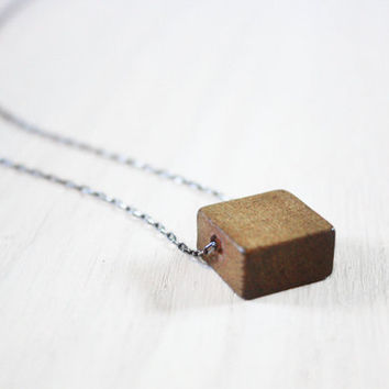 Geometric Wood Necklace  - cube square geo wooden bead on sterling silver chain - minimalist jewelry
