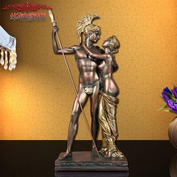European antique decorative ornaments Home Furnishing resin handicraft lovers figure sculptures in ancient Rome fighters