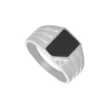 Onyx and Diamond Mens Ring 14K White Gold