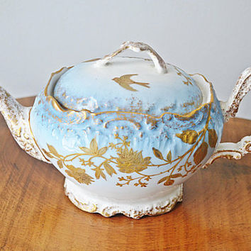 Antique A.K Limoges Teapot, Blue White Gold Teapot, Gilt Enamel Flowers And Birds, 1890's Teapot