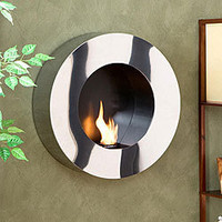 Modern Round Stainless Steel Indoor Fireplace Home Decor Wall Mount New