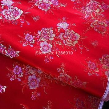 Chinese Silk Brocade Fabric Cheongsam Cushion Red Back Gold Pink Peony Flower Examine Tapestry Satin