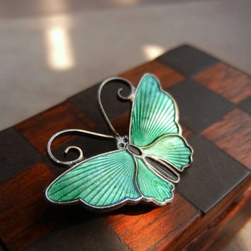 Vintage David-Andersen Sterling Silver Green Guilloche Enamel Butterfly Pin Brooch, Norway